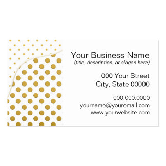 Polka Dots Pattern in Gold and White Business Card