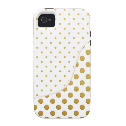 Polka Dots Pattern in Gold and White Vibe iPhone 4 Case