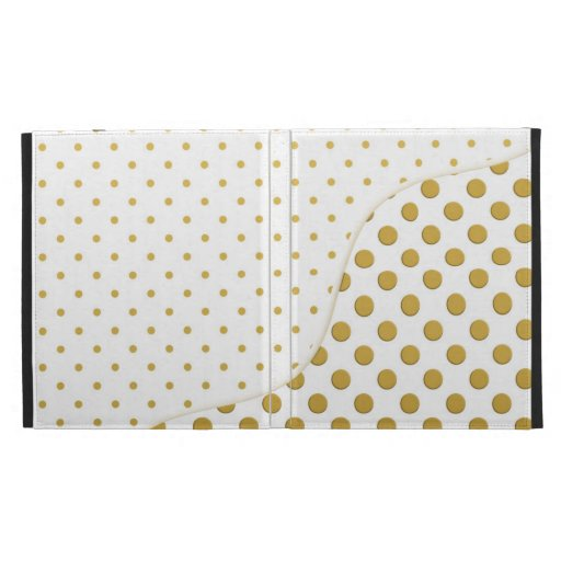 Polka Dots Pattern in Gold and White iPad Folio Cover