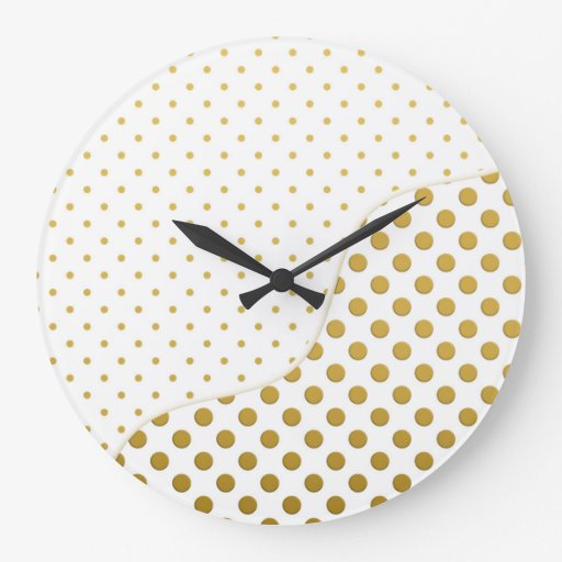 Polka Dots Pattern in Gold and White Clocks