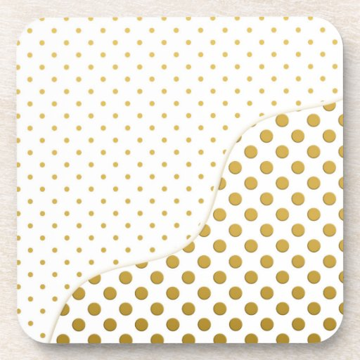 Polka Dots Pattern in Gold and White Beverage Coaster