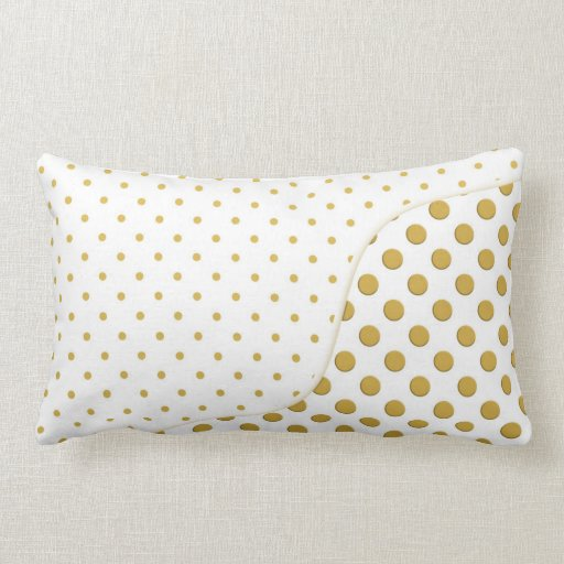 Polka Dots Pattern in Gold and White Throw Pillows