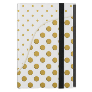 Polka Dots Pattern in Gold and White Case For iPad Mini