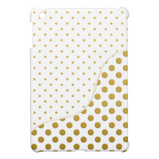 Polka Dots Pattern in Gold and White iPad Mini Covers