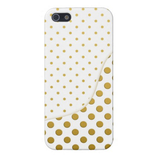 Polka Dots Pattern in Gold and White Case For iPhone 5/5S