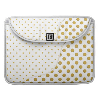 Polka Dots Pattern in Gold and White Sleeve For MacBook Pro