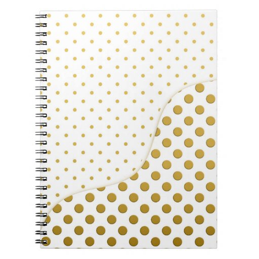 Polka Dots Pattern in Gold and White Note Book