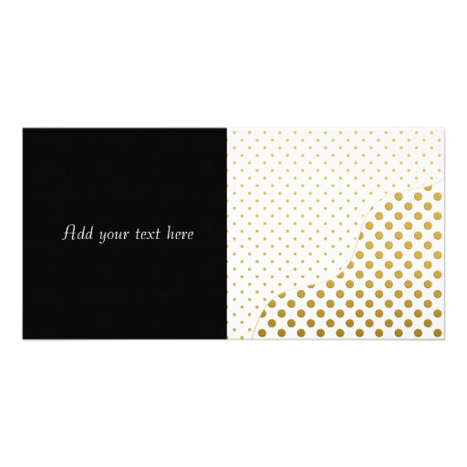 Polka Dots Pattern in Gold and White Photo Greeting Card