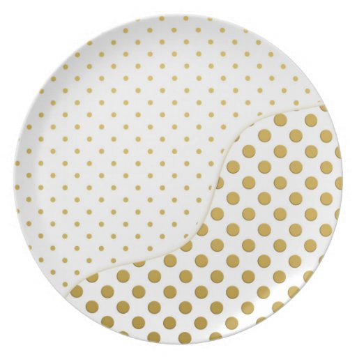 Polka Dots Pattern in Gold and White Dinner Plates