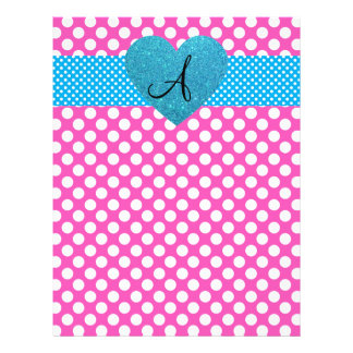 Polka dots pink and white monogram 21.5 cm x 28 cm flyer
