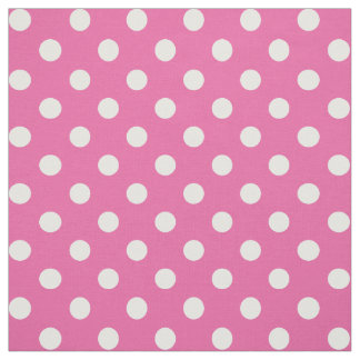 Polka Dots Pink and White Patterned Fabric