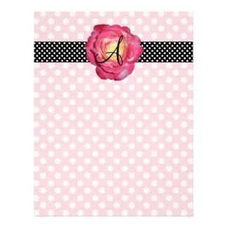 Polka dots pink white monogram pink rose 21.5 cm x 28 cm flyer