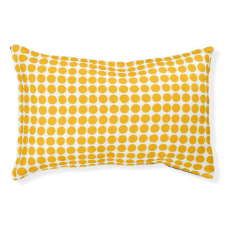 Polka Dots Print Lemon Yellow White Pet Bed