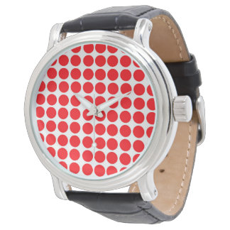 Polka Dots Print Red Watch