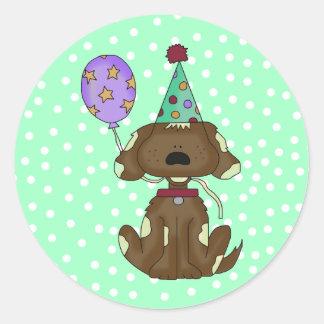 Polka Dots & Puppy Dog Birthday Envelope Stickers