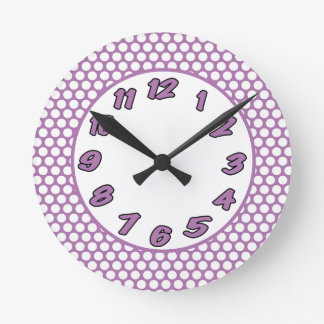 Polka Dots- Purple & White Round Clock