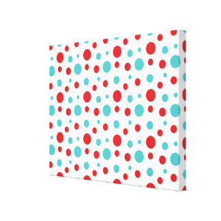 Polka Dots Red and Blue Canvas Print