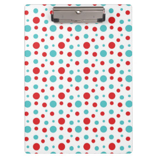 Polka Dots Red and Blue Clipboard
