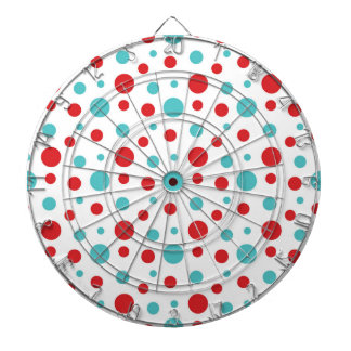 Polka Dots Red and Blue Dartboard