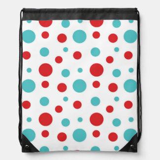 Polka Dots Red and Blue Drawstring Bag
