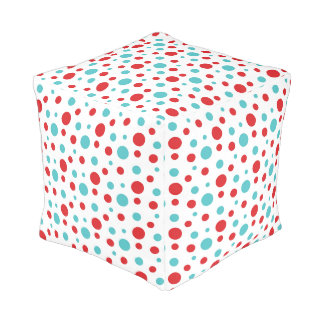 Polka Dots Red and Blue Pouf