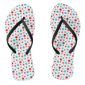 Polka Dots Red and Blue Thongs