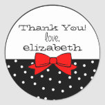 Polka Dots Red Bow Thank You Round Sticker