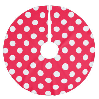 Polka Dots Red Brushed Polyester Tree Skirt