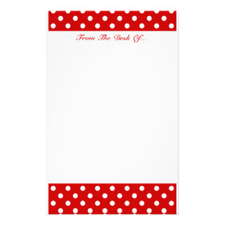 Polka Dots Red + Custom Color Customised Stationery