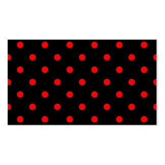 Polka Dots - Red on Black Business Card