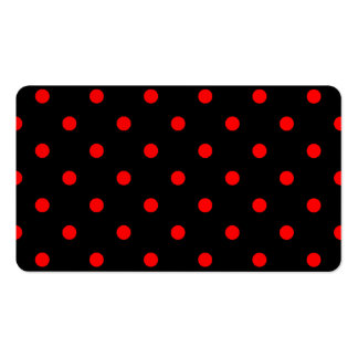 Polka Dots - Red on Black Business Card Templates