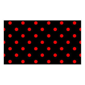 Polka Dots - Red on Black Business Cards