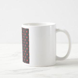 Polka Dots - Red on Black Coffee Mugs