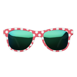 Polka Dots Red White Lady Bug Custom Designer Sunglasses