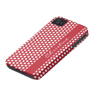 Polka dots red white spots retro custom girls name iPhone 4 case