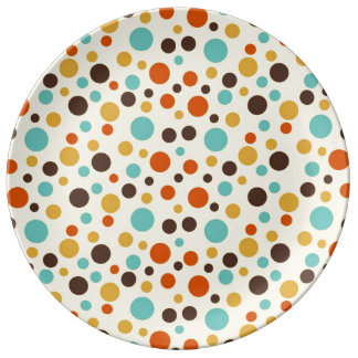 Polka Dots Retro Colors Blue Yellow Red Porcelain Plates