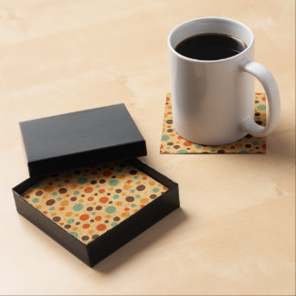 Polka Dots Retro Colors Blue Yellow Red Beverage Coasters