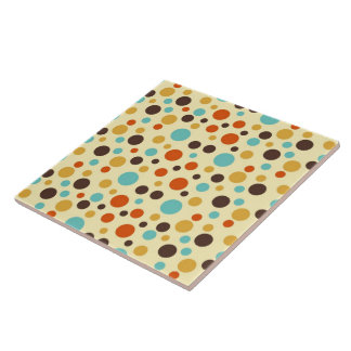 Polka Dots Retro Colours Blue Yellow Red Large Square Tile