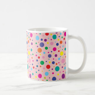 Polka Dots | Rose Quartz Customised Background Clr Coffee Mug
