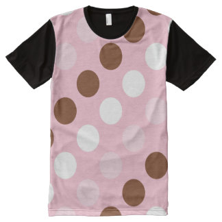 Polka Dots, Spots (Dotted Pattern) - Pink Brown All-Over Print T-Shirt