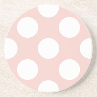 Polka Dots, Spots (Dotted Pattern) - Pink White Beverage Coasters