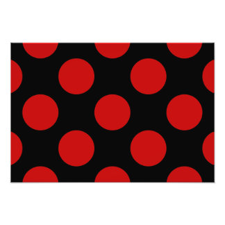 Polka Dots, Spots (Dotted Pattern) - Red Black Photo Art
