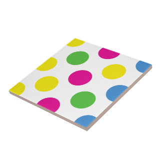 Polka Dots (Spots) Pattern - Pink Green Yellow Tile