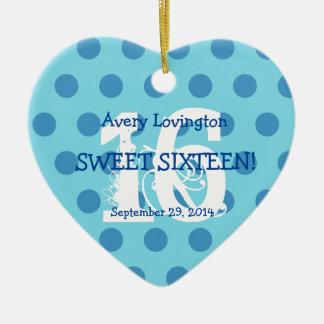 Polka Dots Sweet 16 Birthday V06 AQUA and BLUE Ceramic Ornament