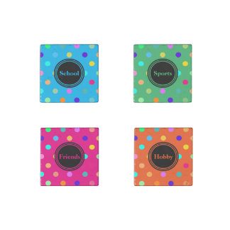 Polka dots themed confetti marble stone magnets stone magnet