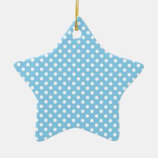 Polka Dots - White on Baby Blue Ceramic Star Decoration