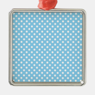 Polka Dots - White on Baby Blue Silver-Colored Square Decoration