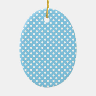 Polka Dots - White on Baby Blue Christmas Ornament