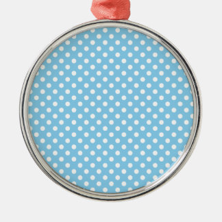 Polka Dots - White on Baby Blue Silver-Colored Round Decoration
