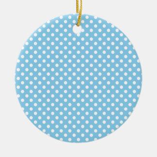 Polka Dots - White on Baby Blue Round Ceramic Decoration